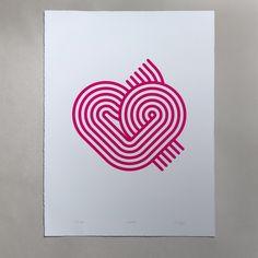 Stripy Heart print (unframed) Silk Screen Printing, Heart Print, One Color, Studio, Paper, Prints, Screen Printing Press, Screen Printing, Studios