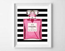 Chanel n ° 5 parfum mode Art illustration Print/Wall Art / Home Decor / mode affiche d'Art / Art Typo / typographie / noir & blanc