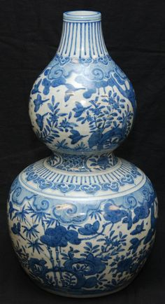 Early Ming Dynasty (15th century) Chinese Blue & White Double Gourd Vase