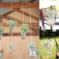 Style Me Pretty Gypsophila Baby's Breath. Simply adorable - I want these hanging jars scattered everywhere at my wedding. Gypsophila Wedding, Wedding Bouquets, Wedding Flowers, Best Marriage Proposals, Good Marriage, Herb Wedding, Rustic Wedding, Hanging Jars, Jam Jar