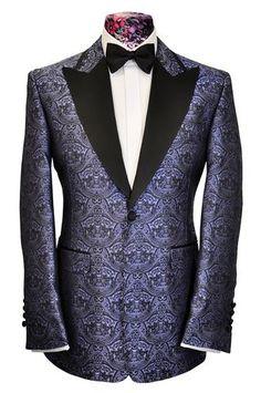 The Morgan Black Over Lilac Regency Pattern Dinner Jacket - William Hunt Savile Row  - 1