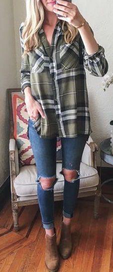 #fall #fashion / tartan shirt cute outfits for girls 2017