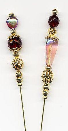 Garnet Hearts and Tears Hatpins (Hat Pins)