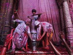 Holi at the Banke Bihari Mandir, Vrindavan, India...Purple, lilac, orange, charcoal...