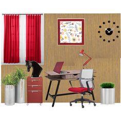 Private Office by vonda-brooks on Polyvore featuring interior, interiors, interior design, home, home decor, interior decorating, CB2, Anglepoise, Blomus and Newgate Clocks