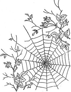 Spider web embroidery pattern. (Beads in the web for dewdrops....ah, yes.)