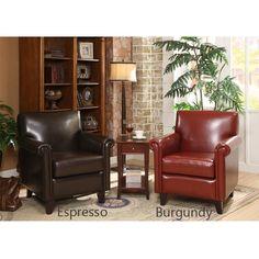 <li>American Classic Style club chair features bonded leather upholstery</li><li>Comfortable furniture built on a sturdy, solid-wood frame</li><li>Tasman chair's deep, high-density foam padding and rolled armrests provide ergonomic comfort</li>