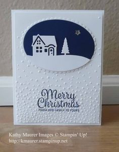 Christmas Card made with Stampin' Up!'s Hearts Come Home Stamp Set, Hometown Greetings Edgelits, and Softly Falling Embossing Folder.  For details, go to my Wednesday, October 4, 2017 blog at http://www.stampinup.net/blog/2130686/entry/oct_4