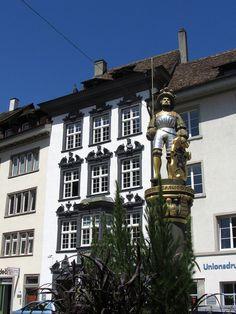 Guild building and fountain in Schaffhausen, Switzerland