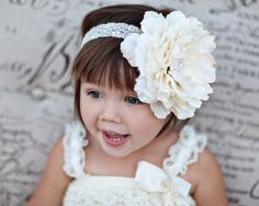 Large Flower Headband Baby Headband Ivory by BannerBoutiqueOnEtsy, $21.95