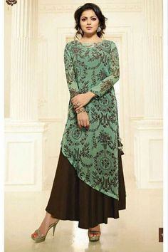 Floral Printed Georgette Layered Kurta in Dusty Green and Brown Party Wear Kurtis, Kurti Designs Party Wear, Salwar Designs, Blouse Designs, Printed Kurti Designs, Dress Designs, Long Kurti Patterns, Designer Kurtis Patterns, Long Kurti With Skirt