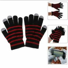 Gloves for Touchscreen with Touchscreen-material in 3 Fingers - Black with Red Black Gloves, Winter, Red, Fashion, Winter Time, Moda, Fashion Styles, Fashion Illustrations, Fashion Models