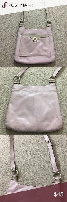 Coach light purple leather purse great crossbody Very nice coach light purple and gray Crossbody messenger style bag with adjustable straps is in very good condition just needs to be clean by the coach cleaner has one teeny weenie Pen mark very cute bag non-smoking home fast delivery at an excellent price get it today Coach Bags Crossbody Bags