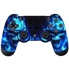 Fire Blue Skull Skin for Controller Playstation 4 Sticker Cover Gift New Miles Spiderman, Playstation Consoles, Ps4 Headset, Best Gaming Wallpapers, Neon Logo, Funny Jokes For Kids, Gaming Room Setup, Cool Gadgets To Buy, Ps4 Controller
