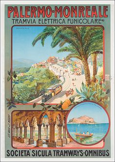 1900 Palermo-Monreale Funicular, Sicily vintage travel poster