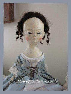 Queen Anne Primitive Folk art cloth/clay DOLL- ATTICBABYS©