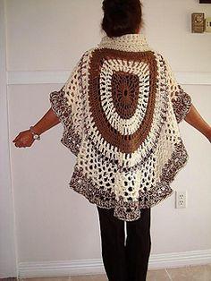 b0c0eaf0e11a 721 Chunky style Crochet Circular Shawl pattern by Emi Harrington