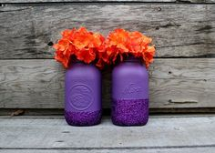 Pair of Glittery Purple Mason Jars - Halloween Decor - Halloween Jars - Painted Vases - Purple Wedding - Glitter Decor - Plum Purple - Fall Purple Mason Jars, Glitter Mason Jars, Wedding Table Flowers, Fall Wedding Colors, Orange Purple Wedding, Purple Gold, Bridal Shower Table Decorations, Wedding Decorations, Wedding Centerpieces Mason Jars