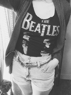 The Beatles DIY crop top t-shirt with DIY high wasted shorts and a cardigan.
