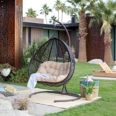 Island Bay Samos Resin Wicker Hanging Egg Loveseat with Cushion and Stand