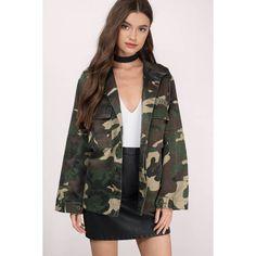 Tobi Tara Camo Print Jacket (€46) ❤ liked on Polyvore featuring outerwear, jackets, olive, camo jacket, camouflage jacket, army green jacket, camoflage jacket and green military jacket