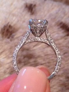 1.82ct Cushion with 1ct micro pave setting, size 4.5