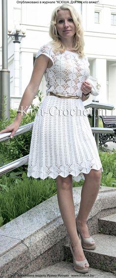 Связанное крючком нарядное белое платье 44-46 размера.