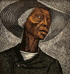 Sharecropper by Elizabeth Catlett.  Here is a good example of using Real Texture.  She used numerous scratches in her work to give the feeling of rough skin.
