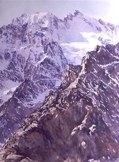 Col du Galibier watercolour by Wayne Roberts