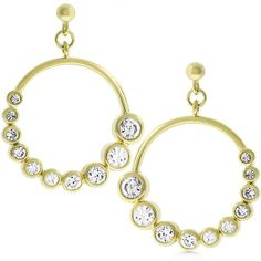 Earrings 14k Gold Bonded Graduated Earrings with Bezel Set Round Cut Clear Cubic…