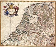 BELGIUM FOEDERATUM. Deze kaart van de Verenigde Nederlanden werd uitgegeven door Nicolaas Visscher I (1608-1679). Het is een nieuwe uitgave van een kaart die eerder in de 17de eeuw door zijn vader Claes Jansz. Visscher (1587-1652) was gepubliceerd.