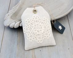 Lavender Sachet Gift Tag with Tatting Cottage by BailiwickStudio