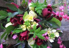 Spring bouquet including tulips and dicentra.