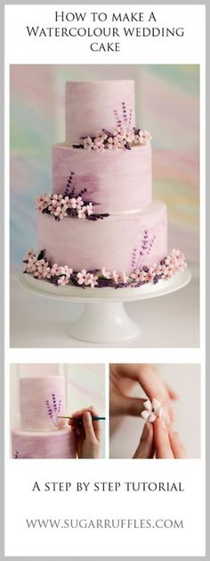 Step by step guide to make sugar flowers for wedding cakes. How to make wisteria sugar flowers. Cake Decorating Techniques, Cake Decorating Tutorials, Pretty Cakes, Beautiful Cakes, Wedding Cake Designs, Wedding Cakes, Wedding Cake Tutorials, Watercolor Wedding Cake, Watercolor Ideas