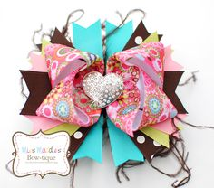 Big Bling Hear Hair Bow with Ostrich Feathers (copyright Miss Maddie's Bowtique)