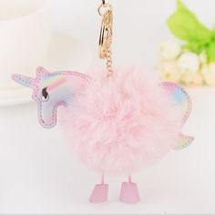 3.14$  Watch more here - 8 Color Fluffy Unicorn Keychain Pompom Rabbit Fur Key Chain Chaveiro Pony Key Ring Holder Hang Bag Charm Pendant Car Accessories   #magazine