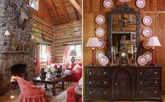 Living room and transferware display at the Mountainside Hideaway in Southern Home