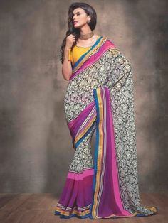 White And Purple Georgette Saree With Print Work