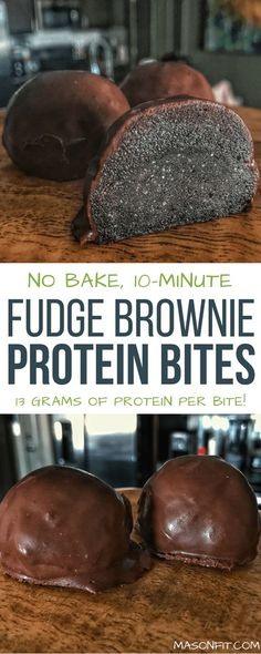 Lower Excess Fat Rooster Recipes That Basically Prime A Recipe For High Protein No Bake Fudge Brownie Bites Made With Real Chocolate. These Brownie Bites Pack All The Flavor Of Fudge Brownies Into A Protein Bite With 13 Grams Of Protein Each. High Protein Desserts, High Protein Recipes, Protein Snacks, Healthy Dessert Recipes, Low Carb Recipes, Healthy Snacks, Snack Recipes, Healthy Eating, Healthy Protein