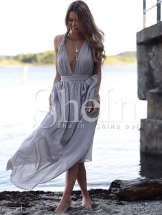 Shop Light Purple Deep V Neck Maxi Dress online. SheIn offers Light Purple Deep V Neck Maxi Dress & more to fit your fashionable needs.