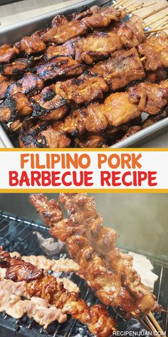 This Filipino Style Pork Barbecue Recipe or BBQ is a common scene during holidays in the Philippines, like Christmas Eve and New Year's celebrations, this Pork Barbecue truly a star in the table. Filipino Pork Barbecue Recipe, Barbecue Recipes, Filipino Recipes, Grilling Recipes, Pork Recipes, Asian Recipes, Cooking Recipes, Healthy Recipes, Vegetarian Grilling