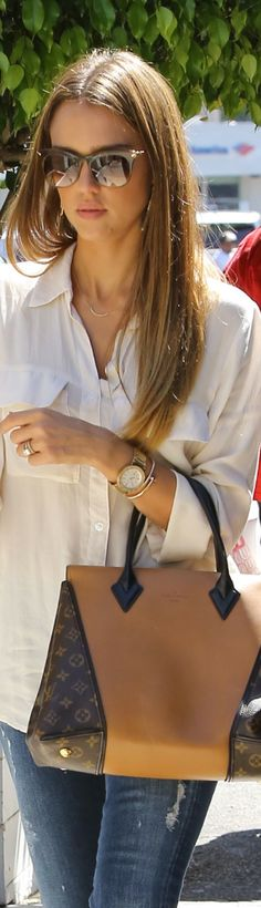 Love this style shirt with jeans, and of course love Louis Vuitton Bag!