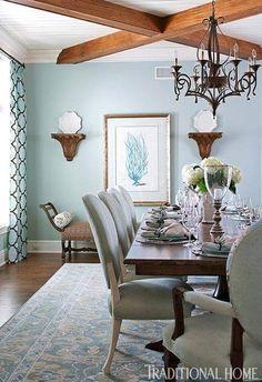 sweet robin's egg blue dining room