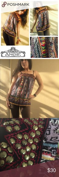 Small embellished top Awesome little top very colorful metal beads at chest Angie Tops