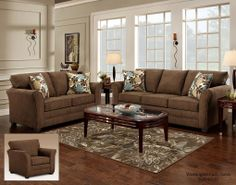 3250 Council Fudge Sofa & Loveseat by Washington Furniture. Get your 3250 Council Fudge Sofa & Loveseat at Railway Freight Furniture, Albany GA furniture store. Contemporary Living Room Sets, Brown Living Room, Living Room Sets, Living Room Diy, Living Room Color, Brown Living Room Decor, Brown Couch Living Room, Couches Living Room, Brown Sofa Living Room