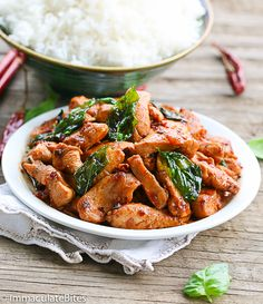 Thai Basil Chicken-Make this takeout at home in less than 20 minutes. It's insanely flavorful,healthier, and lighter than the takeout version and guaranteed hit with the family.    I would eat this, any day of the week, and for any length of time, but it's especially perfect for this ...