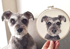 Felted Wool Pet Portrait 'Paintings' by Dani Ives - Dog Milk Silk Ribbon Embroidery, Hand Embroidery Designs, Embroidery Applique, Cross Stitch Embroidery, Embroidery Patterns, Custom Dog Portraits, Pet Portraits, Portrait Paintings, Thread Painting
