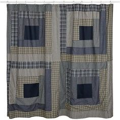 Columbus Shower Curtain Curtains Patchwork Green Navy Plaid Bathroom Accessories #VHCBrands