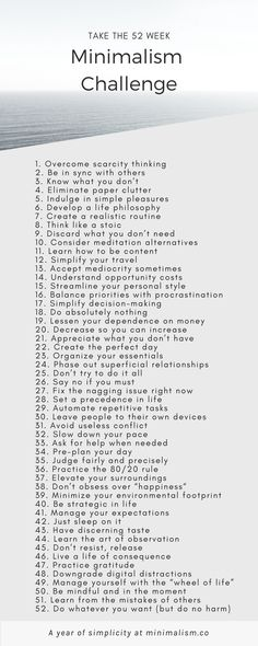 Take the 52 week minimalism challenge Minimal Living, Simple Living, Minimalist Lifestyle, Minimalist Home, Minimalist Bathroom, Minimalist Design, Minimalism Challenge, Life Philosophy, Self Improvement