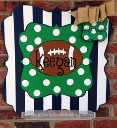 Birth Announcement - Door Hanger - Personalized Football Baby Announcement Sign…